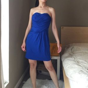 Express Stretch Strapless Dress In Blue.-D3.